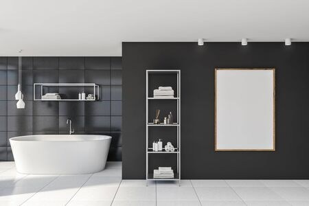 Interior of stylish bathroom with gray tile walls, white floor, comfortable bathtub, vertical mock up poster and shelves with beauty products. 3d rendering Stockfoto