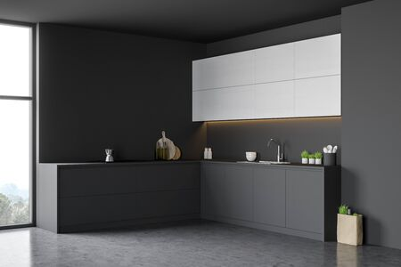 Corner of modern kitchen with gray wooden walls, concrete floor, comfortable grey countertops, white cupboards and shopping bag with grocery on the floor. 3d rendering Stock Photo