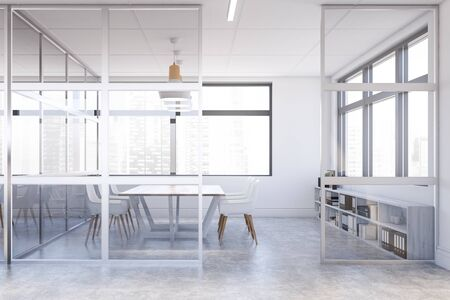 Interior of stylish office conference room with white and glass walls, concrete floor, long wooden table and white chairs. Cabinet with folders. 3d rendering