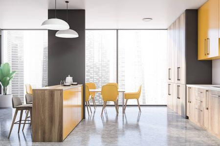 Side view of modern kitchen with white walls, wooden countertops, yellow cupboards, bar with stools and dining table with yellow chairs. 3d rendering