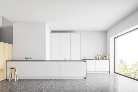 Interior of modern kitchen with white walls, concrete floor, white countertops, island with chair and panoramic window. 3d rendering