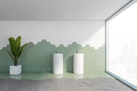 Interior of stylish panoramic bathroom with white and green hexagon tile walls, concrete floor, panoramic window and comfortable double freestanding sink. 3d rendering