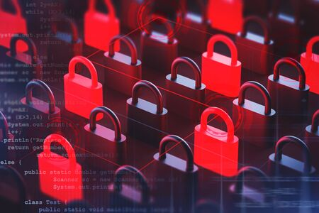 Red and black padlocks standing on black surface with double exposure of blurry code lines and HUD interface. Concept of digital security and data protection. 3d rendering toned image Zdjęcie Seryjne