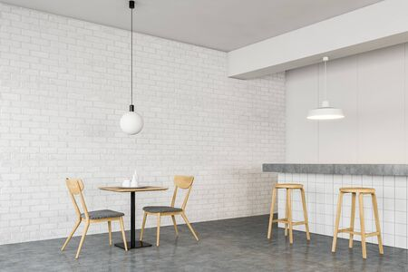 Corner of minimalistic bar with white brick walls, concrete floor, long white tile bar stand with stools and square wooden table with chairs. 3d rendering Stok Fotoğraf