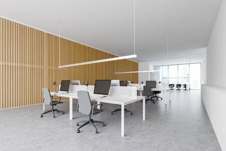 Corner of stylish open space office with white and wooden walls, concrete floor, rows of white computer desks and conference room in the background. 3d rendering
