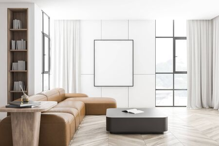 Interior of modern living room with white walls, wooden floor, long leather sofa near square coffee table and vertical mock up poster frame. 3d rendering