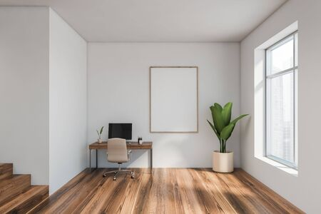 Interior of minimalistic home office with white walls, wooden floor, compact computer table with beige chair and vertical mock up poster frame. 3d rendering