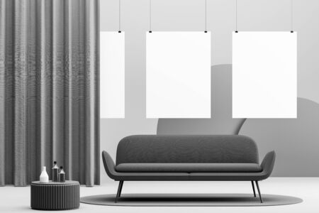 Interior of modern living room or waiting room with light gray walls, dark grey sofa standing on round carpet and vertical mock up poster gallery. 3d rendering