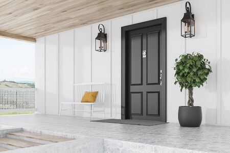 Side view of stylish black front door or modern house with white walls, door mat, white bench, tree in pot, stairs and beautiful lamps. 3d rendering Reklamní fotografie