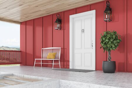 Side view of stylish white front door or modern house with red walls, door mat, white bench, tree in pot, stairs and beautiful lamps. 3d rendering Reklamní fotografie