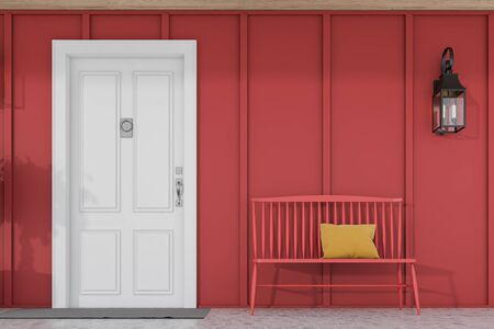 Stylish white front door of modern house with red walls, door mat, red bench and beautiful lamp. 3d rendering
