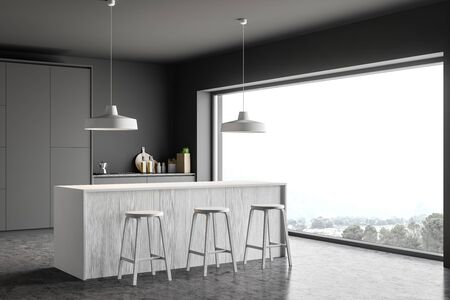 Corner of stylish kitchen with gray walls, concrete floor, grey countertops, white wooden bar with stools and panoramic window. 3d rendering
