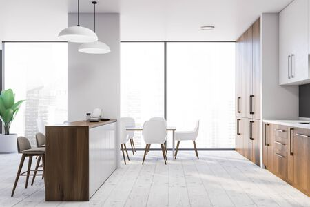 Side view of modern kitchen with white walls, wooden countertops, white cupboards, bar with stools and dining table with white chairs. 3d rendering Stock Photo