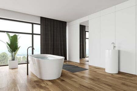 Corner of spacious bathroom with white panel and wooden walls, wooden floor, panoramic window with curtains, comfortable bathtub and round sink with large mirror. 3d rendering Banco de Imagens