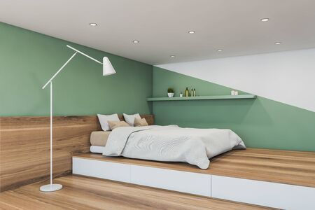 Corner of minimalistic master bedroom with white and green walls, wooden floor, comfortable king size bed with white blanket and shelf above it. 3d rendering