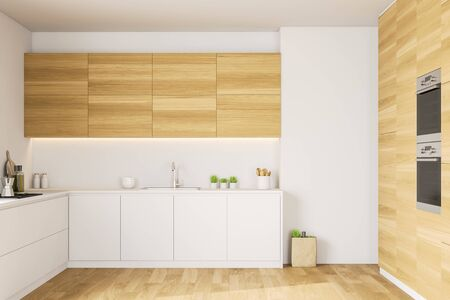 Interior of minimalistic kitchen with white and wooden walls, wooden floor, comfortable white countertops, wooden cupboards and two built in ovens. 3d rendering