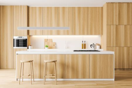Interior of modern kitchen with white walls, wooden floor, comfortable wooden countertops and cupboards and cozy bar with stools. 3d rendering