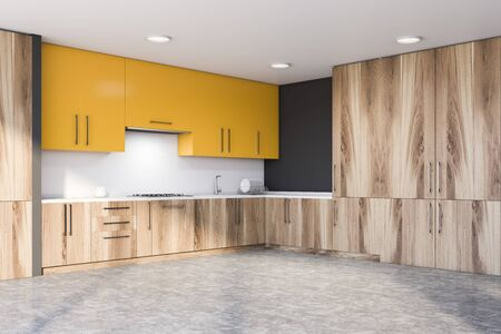 Corner of stylish kitchen with gray and white walls, concrete floor, wooden countertops with sink and stove and yellow cupboards. 3d rendering