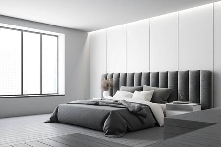 Corner of minimalistic master bedroom with white panel walls, gray floor, comfortable king size bed with two bedside tables and large window. 3d rendering
