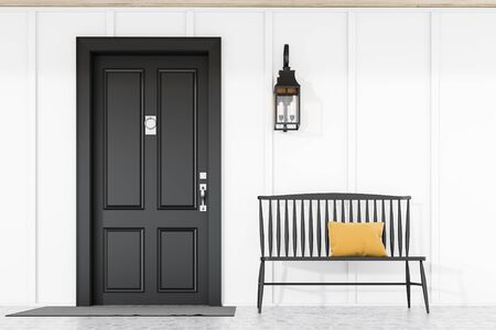Stylish black front door of modern house with white walls, door mat, black bench and lamp. 3d rendering Reklamní fotografie