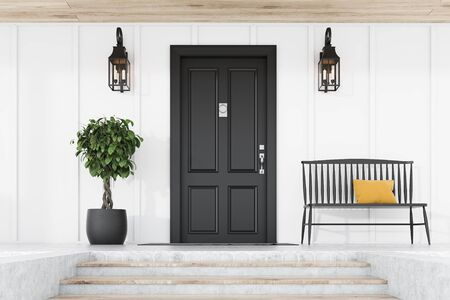 Stylish black front door of modern house with white walls, door mat, tree in pot, black bench, stairs and lamps. 3d rendering