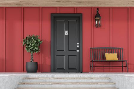 Stylish black front door of modern house with red walls, door mat, tree in pot, black bench, stairs and lamp. 3d rendering
