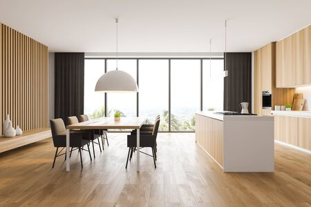 Interior of panoramic kitchen with white walls, wooden floor, wooden countertops and cupboards, comfortable island and wooden dining table with chairs. 3d rendering