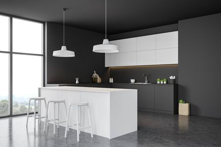 Corner of modern kitchen with gray and dark wooden walls, concrete floor, comfortable grey countertops, white cupboards and white bar with stools. 3d rendering