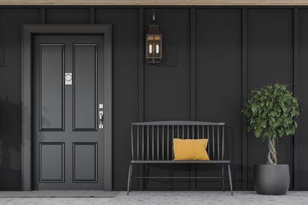 Stylish black front door of modern house with black walls, door mat, tree in pot, black bench and lamp. 3d rendering