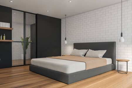 Corner of modern bedroom with white brick and gray walls, wooden floor, comfortable master bed with beige blanket and two bedside tables. 3d rendering