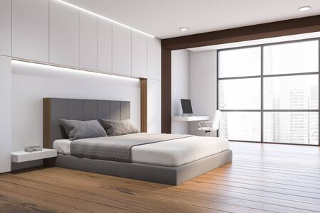 Corner of modern bedroom with white and brown walls, wooden floor, comfortable king size bed and home office with compact table and white chair. 3d rendering