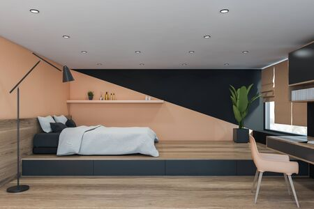 Interior of minimalistic master bedroom with beige and black walls, wooden floor, comfortable king size bed with white blanket and shelf above it. Table with beige chair. 3d rendering