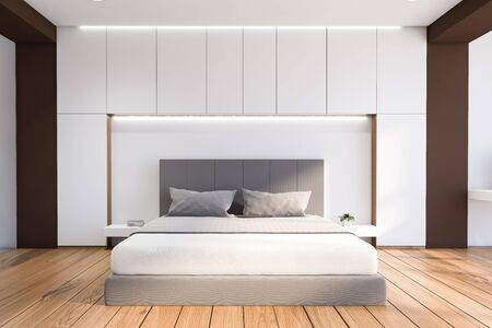 Interior of modern bedroom with white and brown walls, wooden floor, comfortable king size bed and two bedside tables. 3d rendering