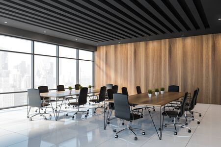 Corner of stylish office meeting room with black and wooden walls, white tiled floor, panoramic window and two long conference tables with black chairs. 3d rendering Stockfoto