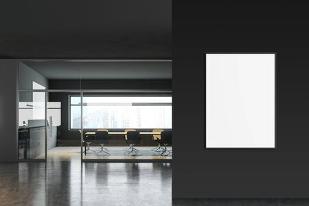 Interior of modern conference room with gray walls, concrete floor, panoramic window, long table and gray chairs. Vertical mock up poster frame to the right. 3d rendering Stockfoto