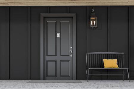 Stylish black front door of modern house with black walls, door mat, black bench and lamp. 3d rendering