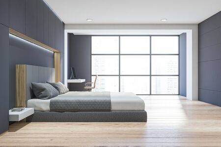 Interior of modern bedroom with white and grey walls, wooden floor, comfortable king size bed and home office with compact table and beige chair. 3d rendering Banco de Imagens