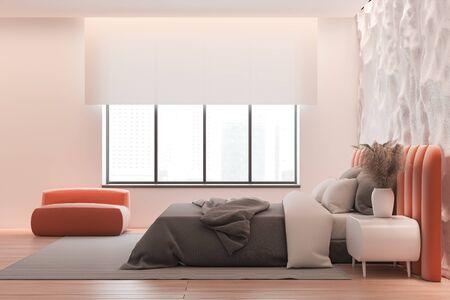 Side view of modern bedroom with pink and crude white walls, wooden floor, orange king size bed with white bedside table and armchair. 3d rendering