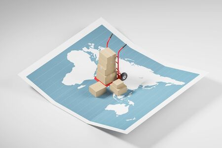 Red hand truck with boxes standing on world map. Concept of goods delivery and logistics. 3d rendering