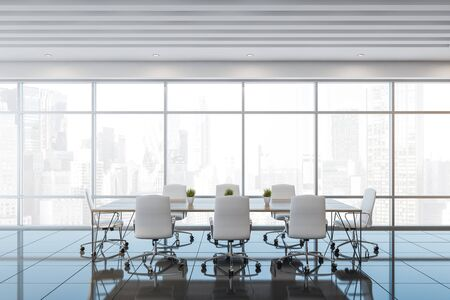 Interior of panoramic office meeting room with white ceiling, grey tiled floor and long conference table with white chairs. 3d rendering Stockfoto