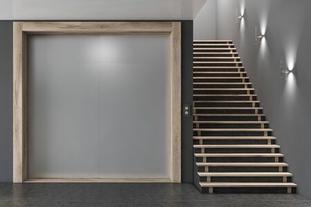 Interior of office elevator hall with grey walls, concrete floor, modern elevator with closed doors and staircase. 3d rendering Stockfoto