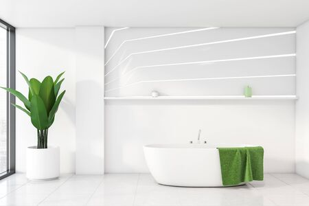 Interior of stylish bathroom with white walls, tiled floor, comfortable bathtub with green towel hanging on it and shelf above it. 3d rendering