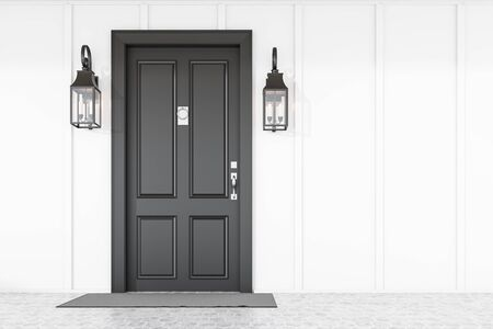 Stylish black front door of modern house with white walls, gray doormat and two beautiful lamps. 3d rendering