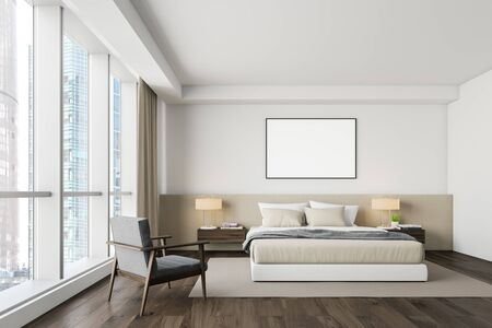 Interior of master bedroom with white walls, dark wooden floor, comfortable king size bed with two bedside tables, gray armchair and horizontal mock up poster frame. 3d rendering