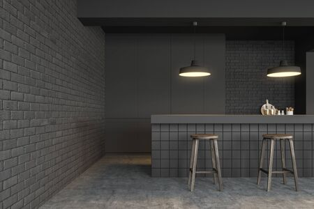 Interior of minimalistic pub with gray brick walls, concrete floor, tiled bar stand with dark wooden stools and gray cabinets. 3d rendering Stock fotó