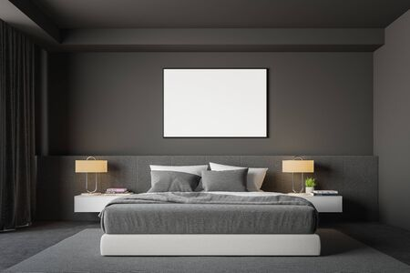 Interior of stylish bedroom with gray walls, concrete floor, comfortable king size bed with two bedside tables and horizontal mock up poster frame. 3d rendering