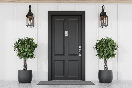 Elegante porta d'ingresso nera della casa moderna con pareti bianche, zerbino, due alberi in vasi e lampade. rendering 3d