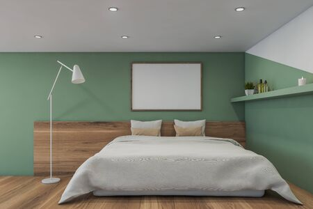 Interior of minimalistic master bedroom with white and green walls, wooden floor, comfortable king size bed with white blanket and horizontal mock up poster frame above it. 3d rendering