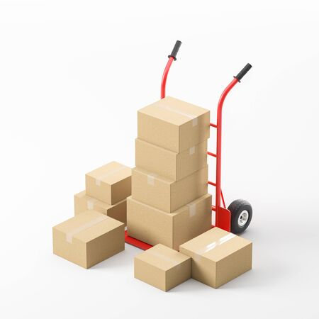 Comfortable red hand truck with sealed boxes over white background. Concept of goods delivery and logistics. 3d rendering
