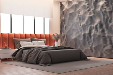 Corner of stylish bedroom with crude gray and pink walls, wooden floor and comfortable orange king size bed with bedside table near big window. 3d rendering Banco de Imagens